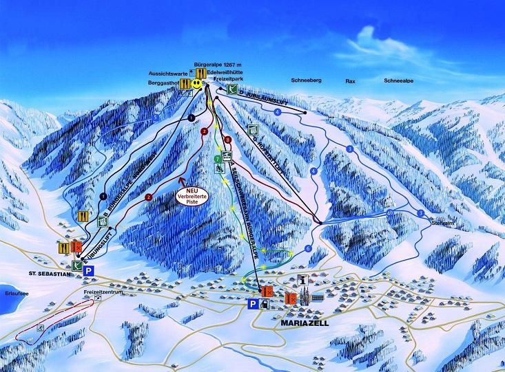 Mariazell sítérkép